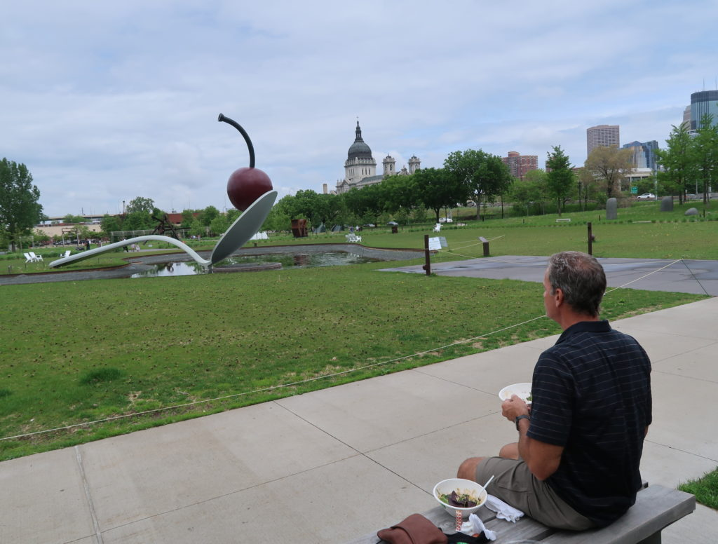 I left off in my last post that we were in Wisconsin.  We did drive up to Minneapolis to see the sights.  We stopped for a picnic lunch in a sculpture park to enjoy the safety of being outside.